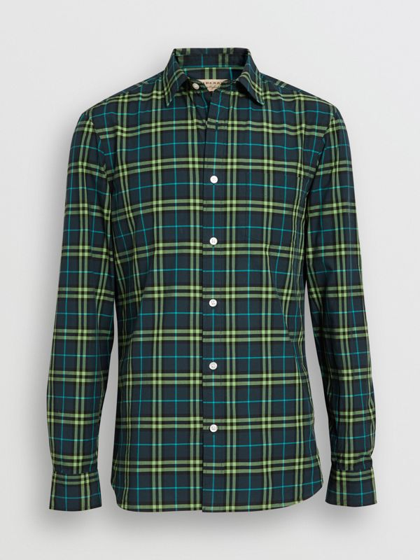 Check Cotton Shirt in Dark Pewter Blue - Men | Burberry Singapore - cell image 3