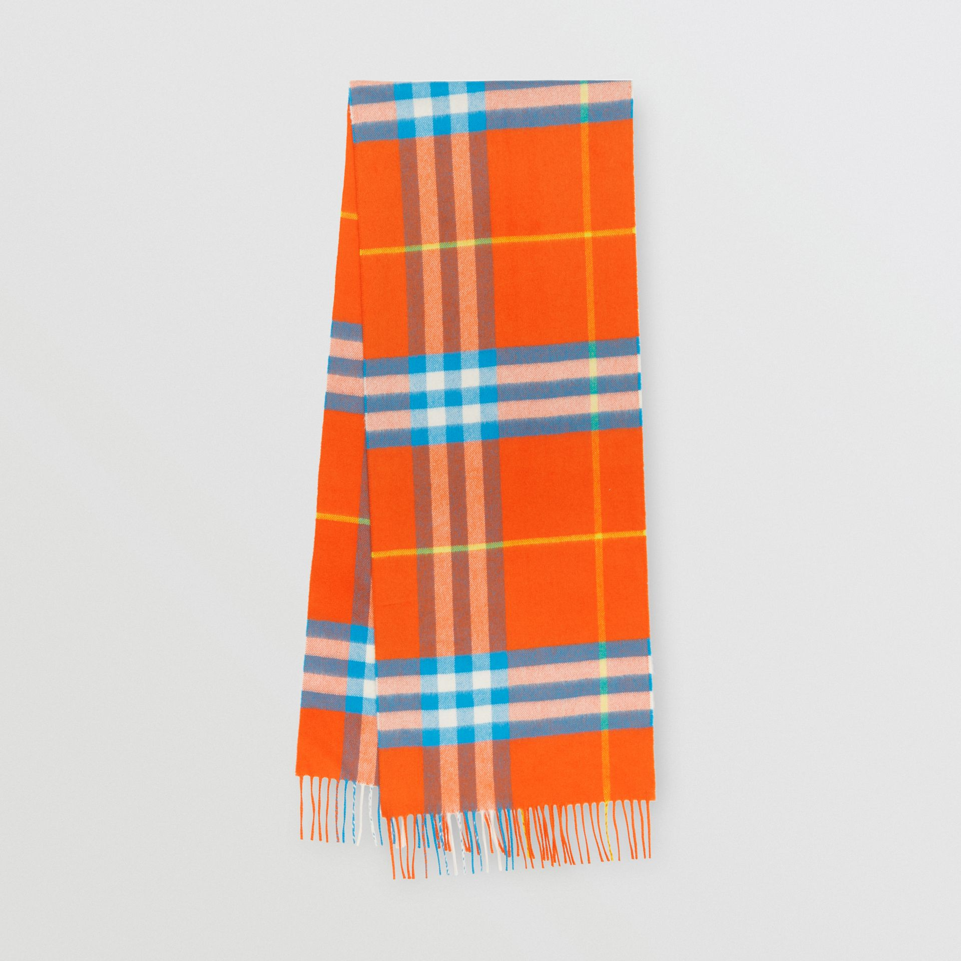 The Classic Check Cashmere Scarf in Bright Vermillion | Burberry United States - gallery image 0