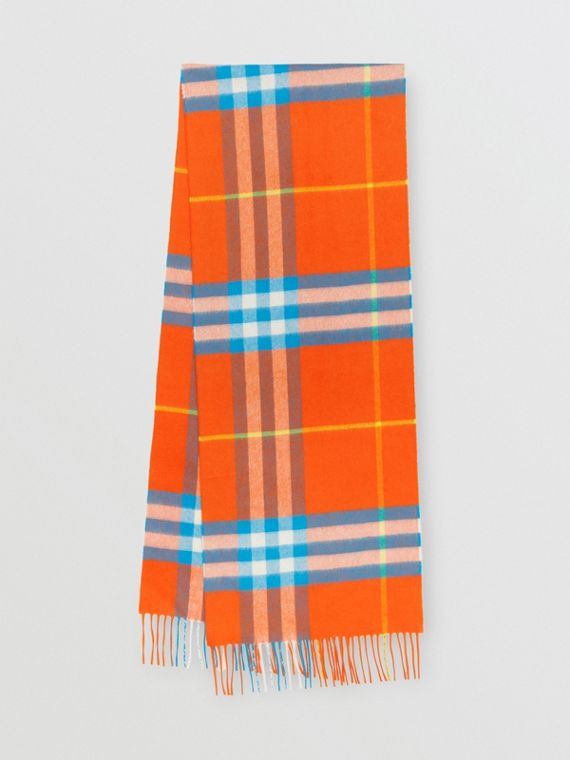 The Classic Check Cashmere Scarf in Bright Vermillion