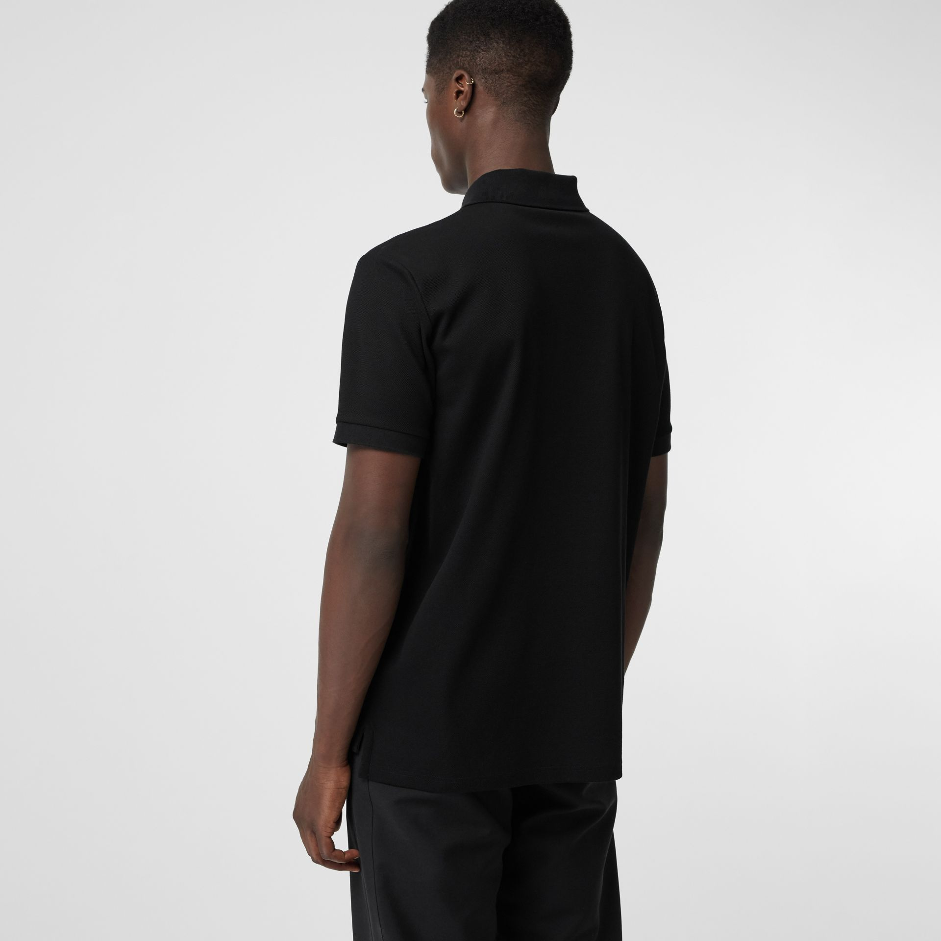 Embellished Logo Polo Shirt in Black - Men | Burberry - gallery image 2