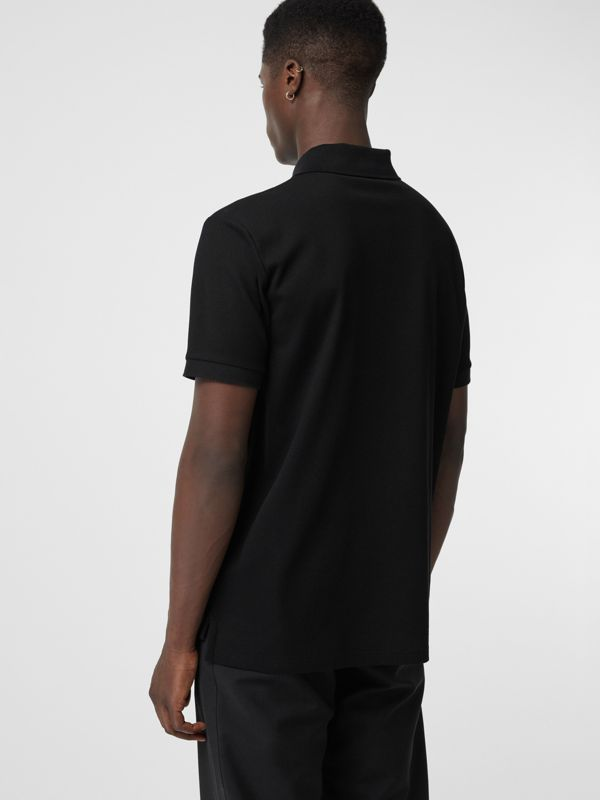 Embellished Logo Polo Shirt in Black - Men | Burberry - cell image 2