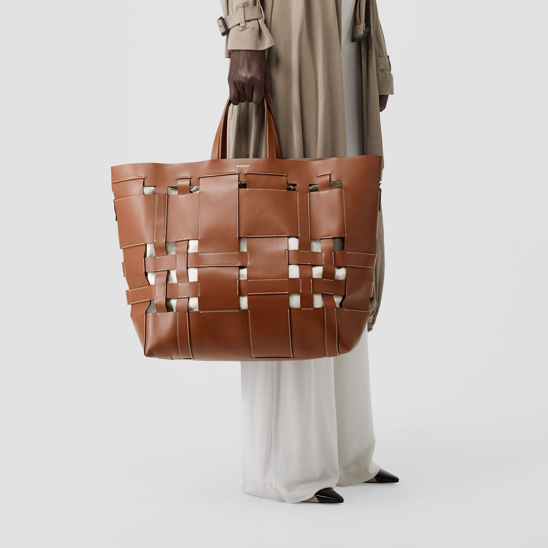 Large Leather Foster Tote in Malt Brown - Women | Burberry - gallery image 2