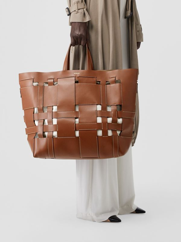 Large Leather Foster Tote in Malt Brown - Women | Burberry - cell image 2
