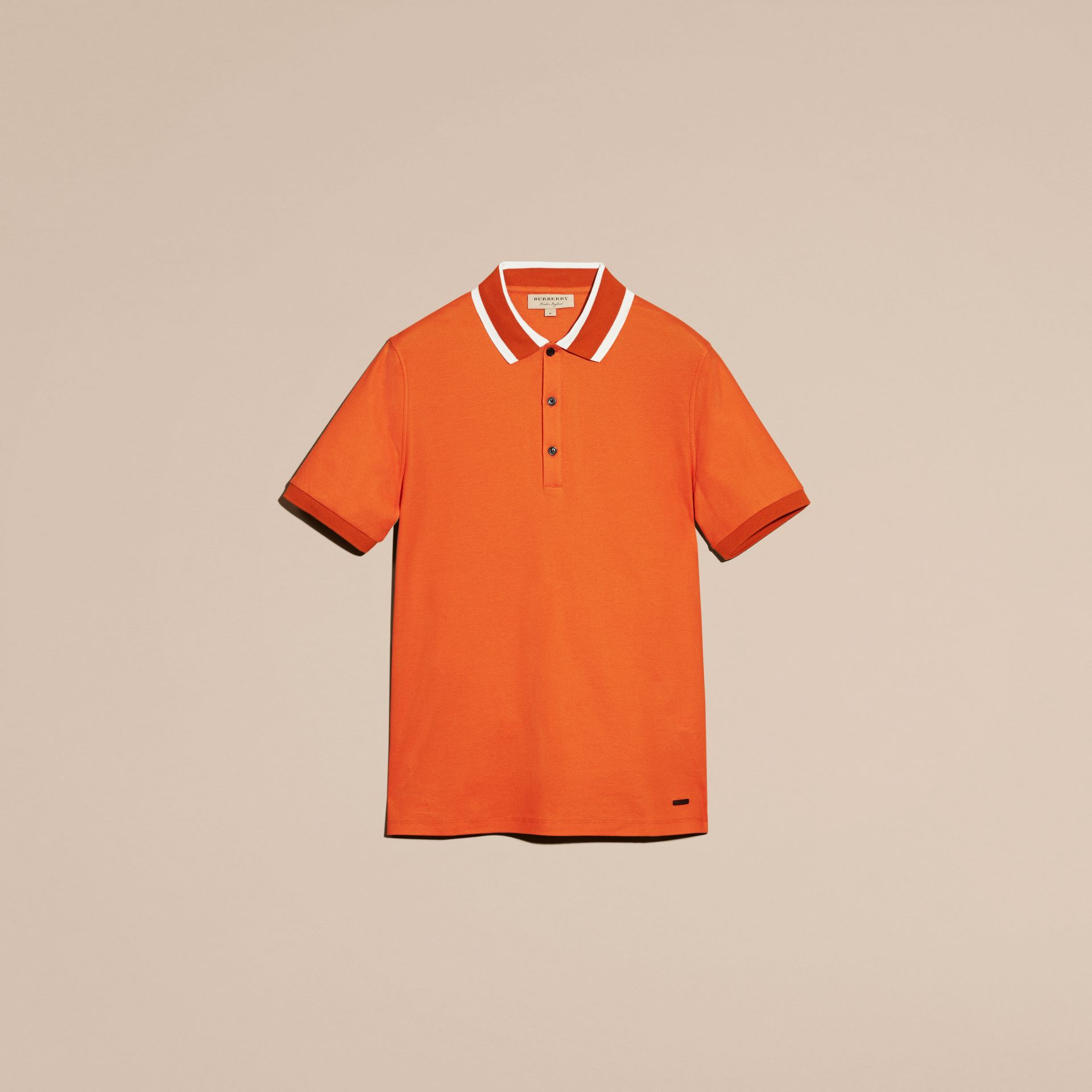 Striped Collar Cotton Piqué Polo Shirt Clementine - gallery image 4