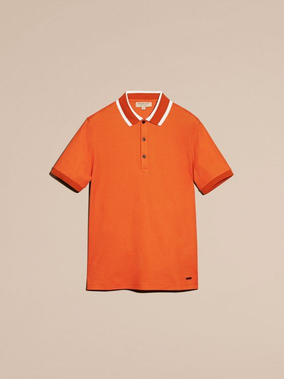 Striped Collar Cotton Piqué Polo Shirt Clementine - cell image 3