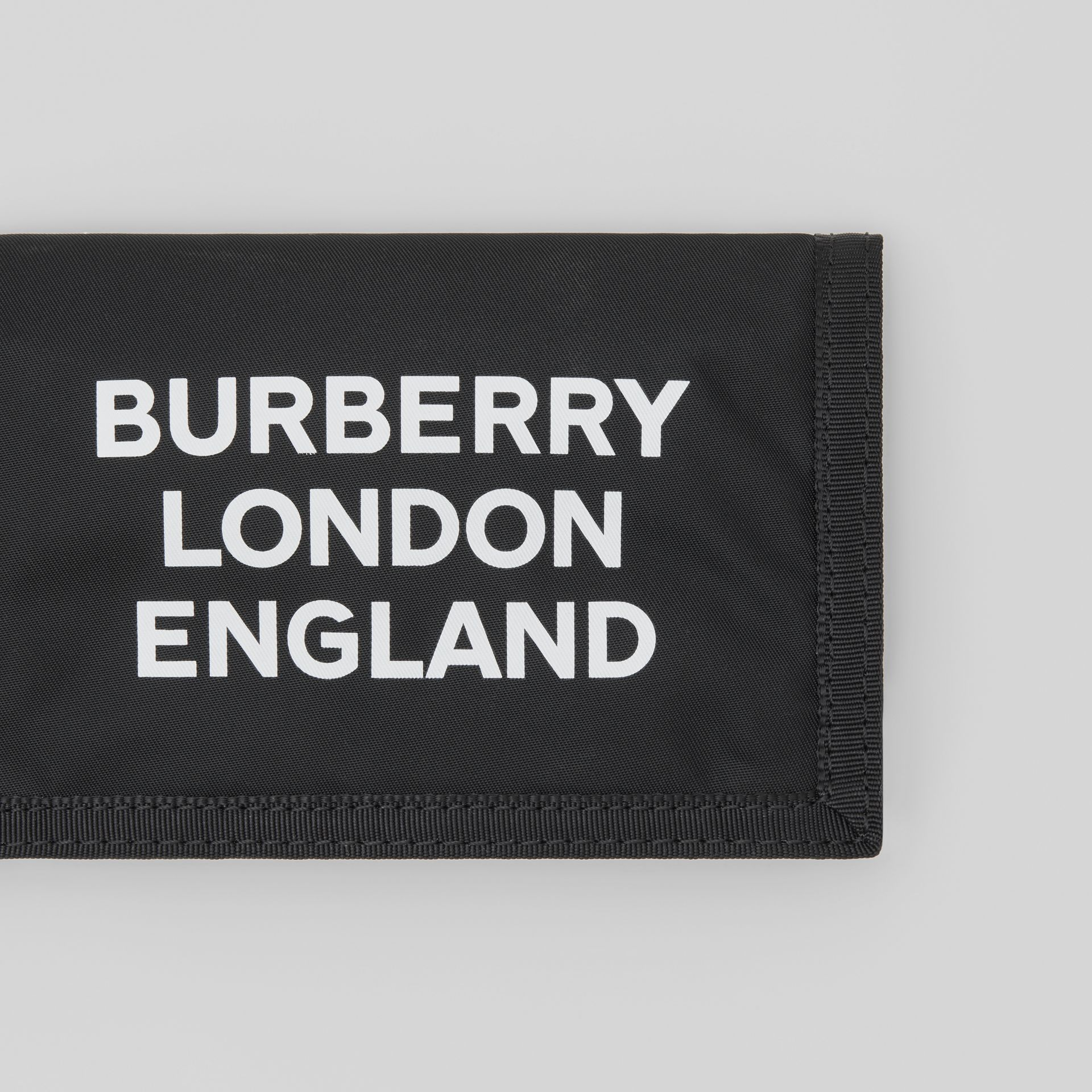 Logo Print Nylon Travel Wallet in Black/white | Burberry Australia - gallery image 1