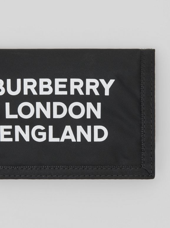 Logo Print Nylon Travel Wallet in Black/white | Burberry - cell image 1