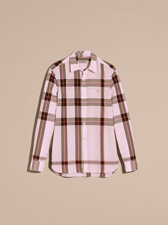 Check Cotton Shirt Light Pink - cell image 3