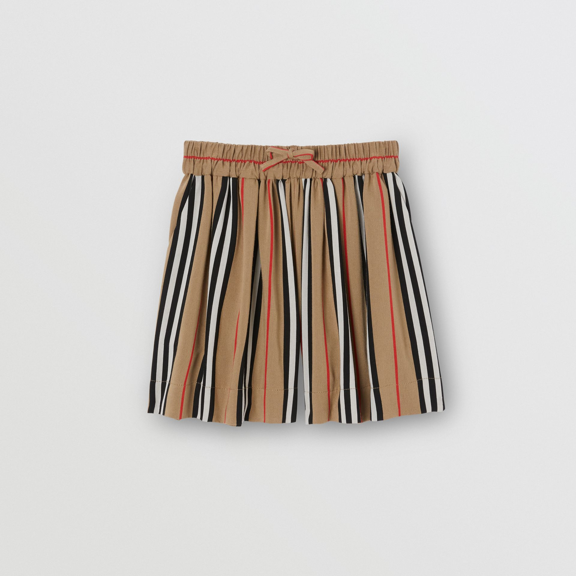 Gathered Icon Stripe Drawcord Shorts in Archive Beige | Burberry United Kingdom - gallery image 0