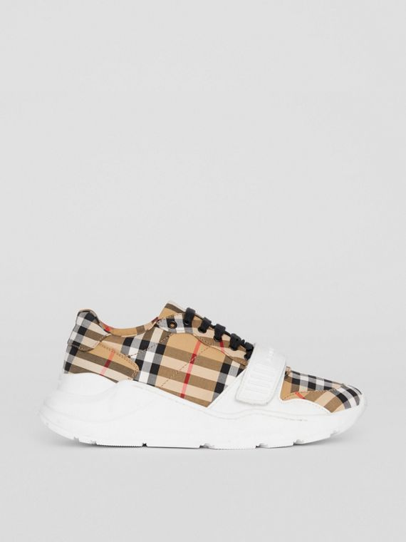 Sneakers en coton Vintage check (Jaune Antique)