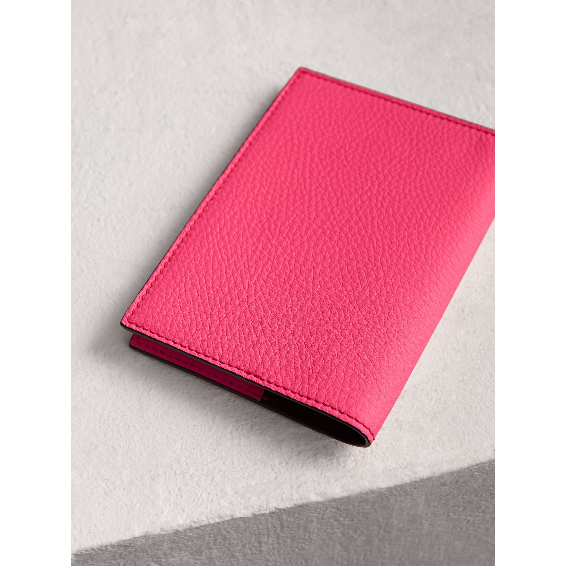 Embossed Leather Passport Holder in Bright Pink | Burberry United States - gallery image 2