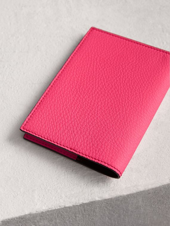 Embossed Leather Passport Holder in Bright Pink | Burberry United States - cell image 2