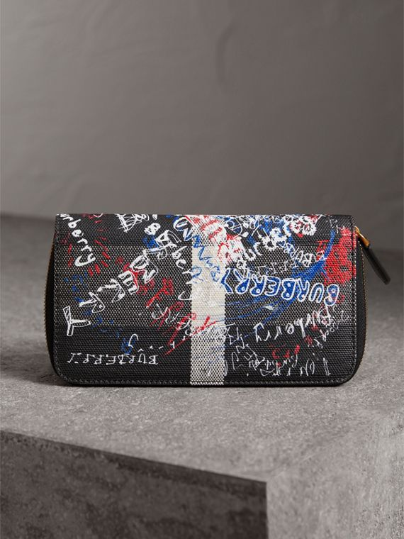 Doodle Print Coated Canvas Ziparound Wallet in Black | Burberry Australia - cell image 2