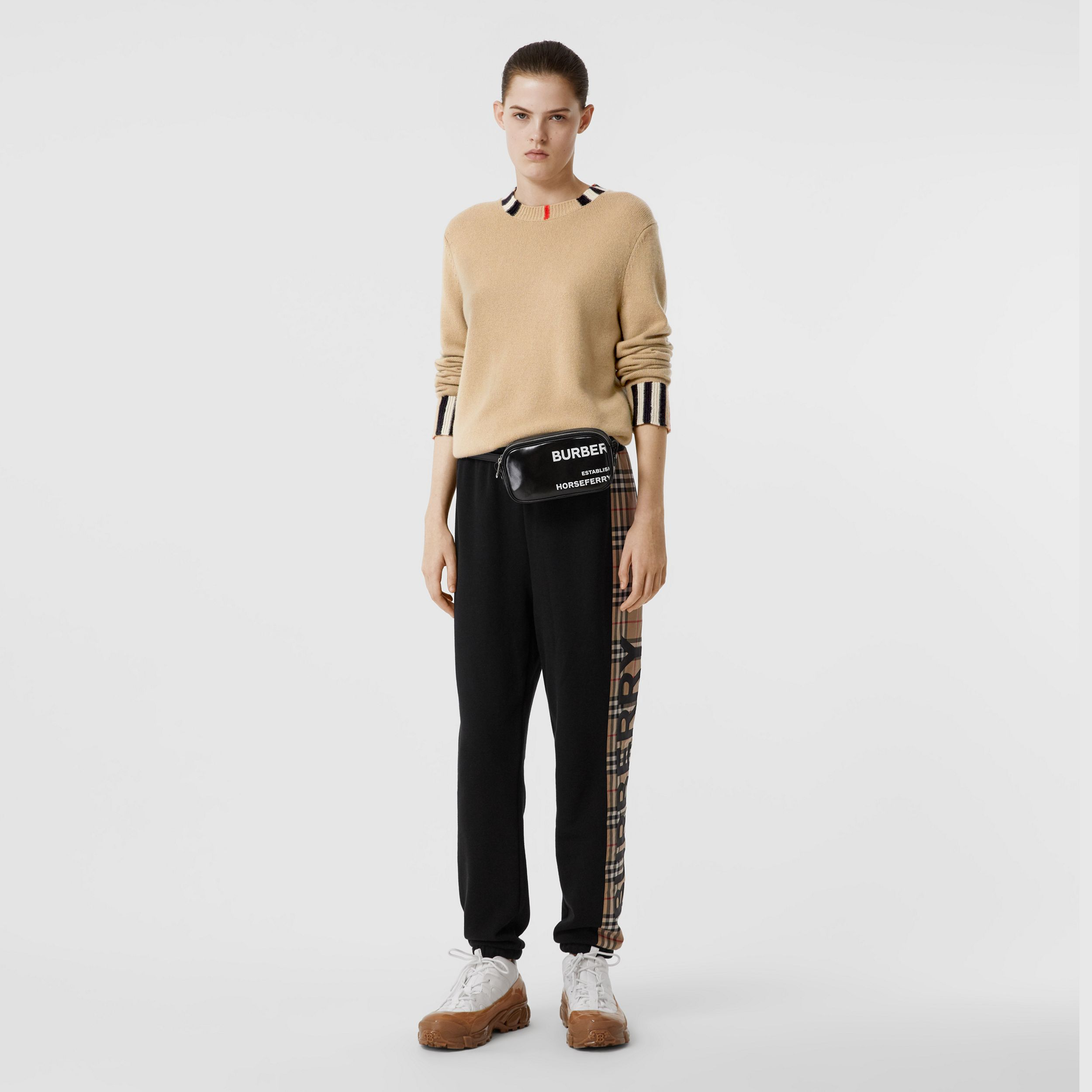 Icon Stripe Trim Cashmere Sweater in Archive Beige - Women | Burberry - 1