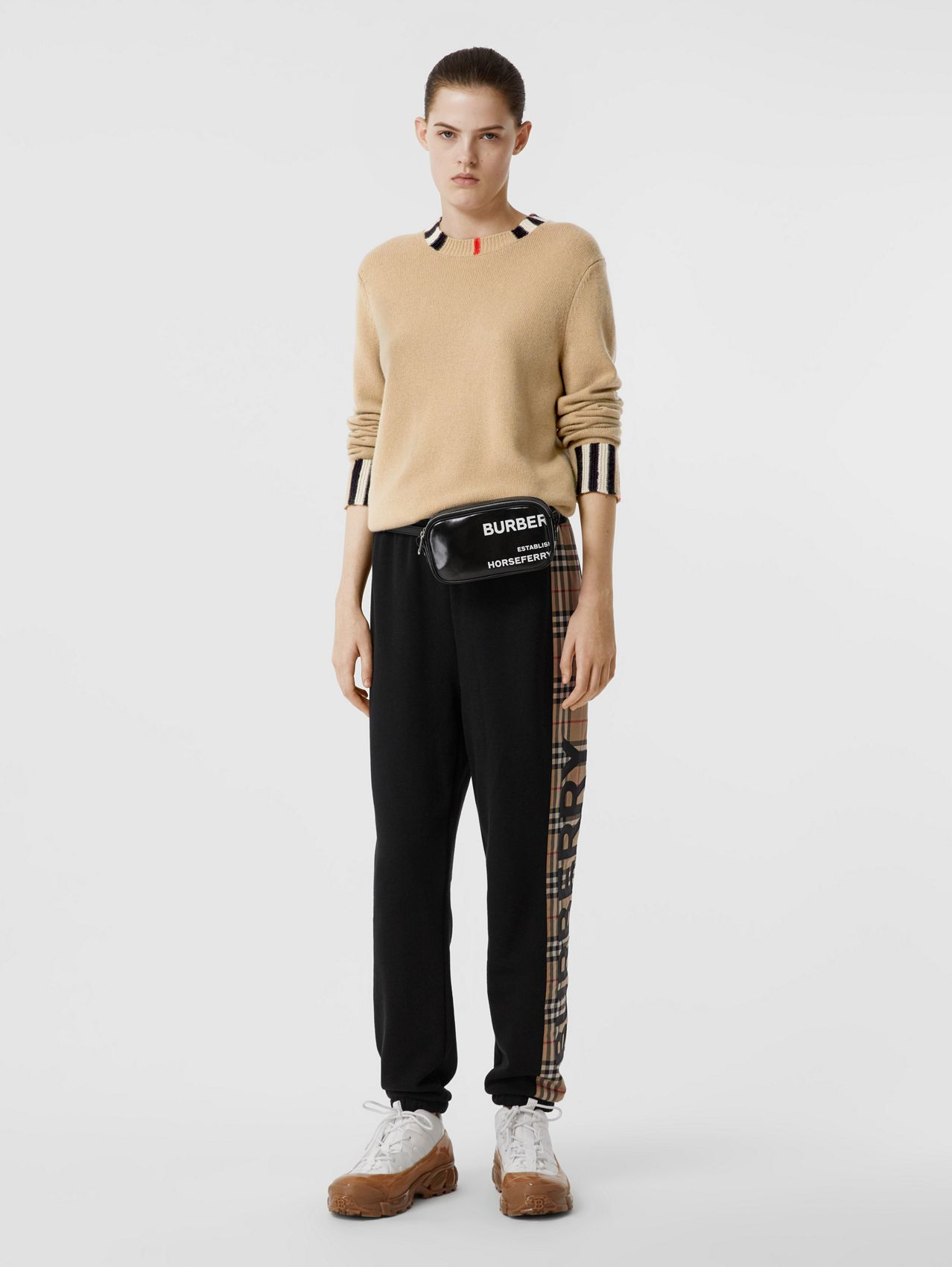 Icon Stripe Trim Cashmere Sweater in Archive Beige
