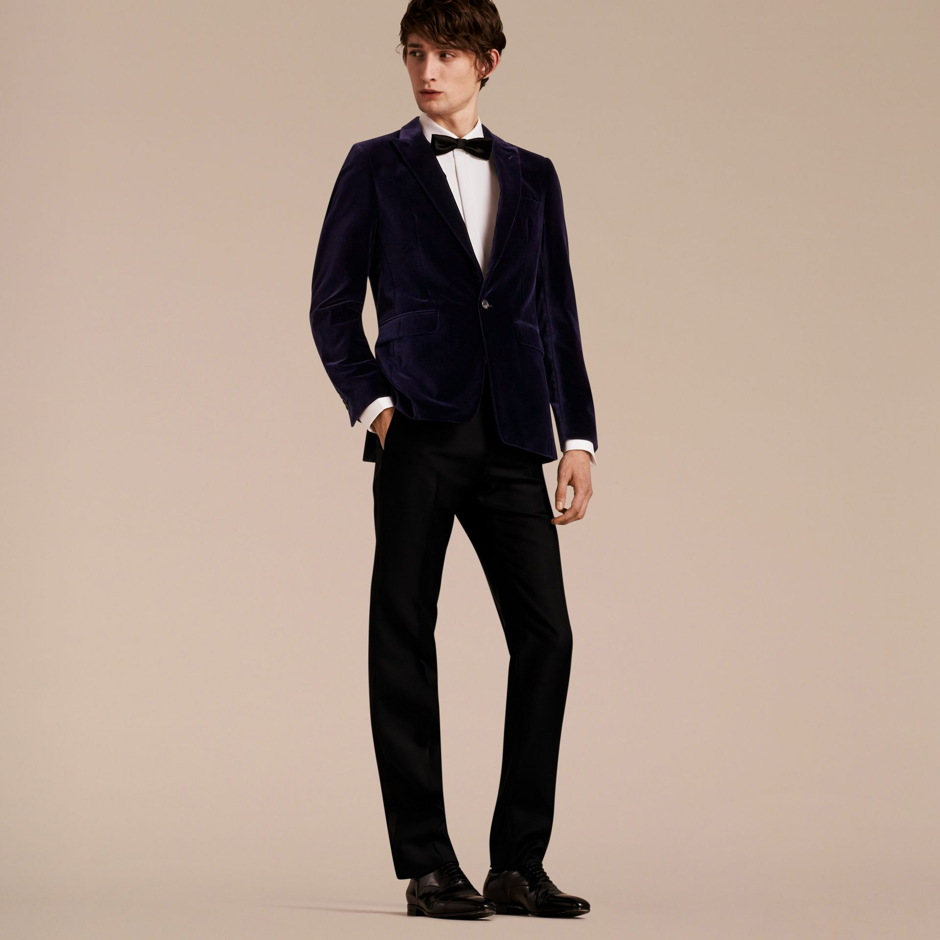 Black Slim Fit Tailored Velvet Jacket - gallery image 8