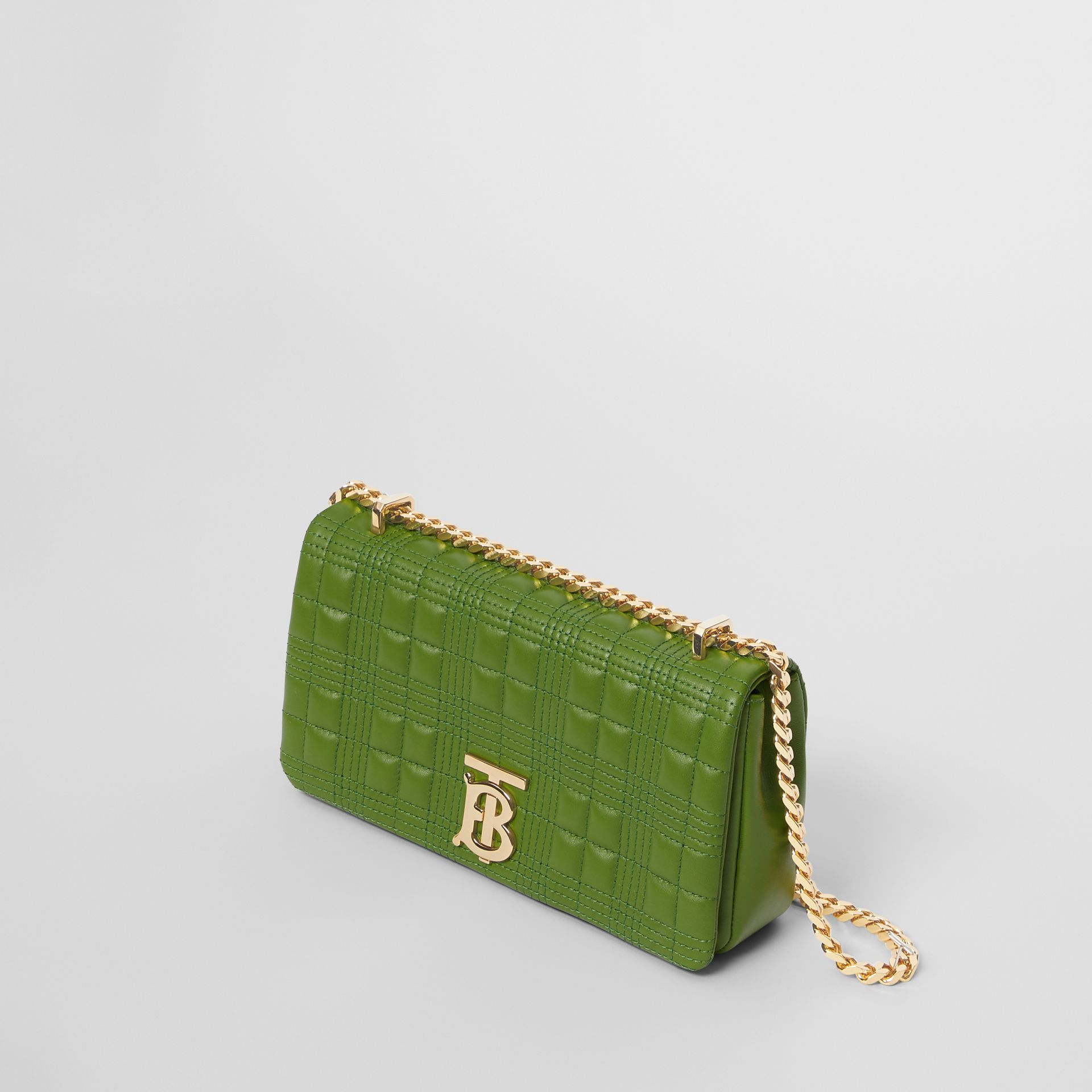 Small Quilted Check Lambskin Lola Bag in Green Forest - Women | Burberry - gallery image 3