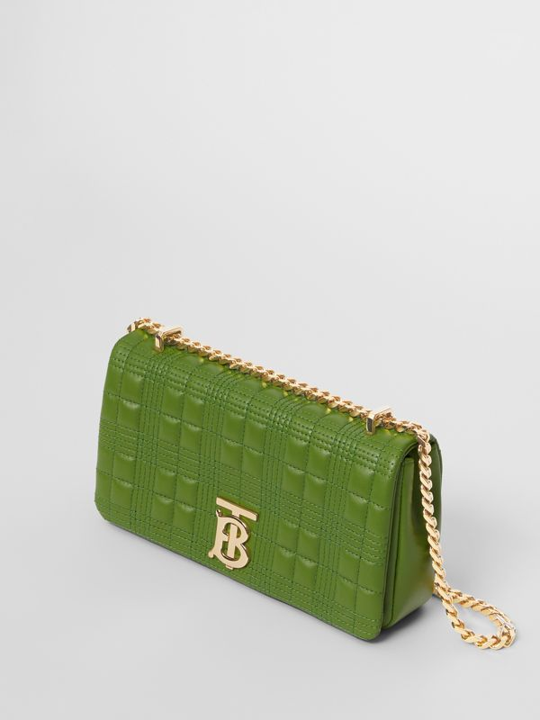 Small Quilted Check Lambskin Lola Bag in Green Forest - Women | Burberry - cell image 3