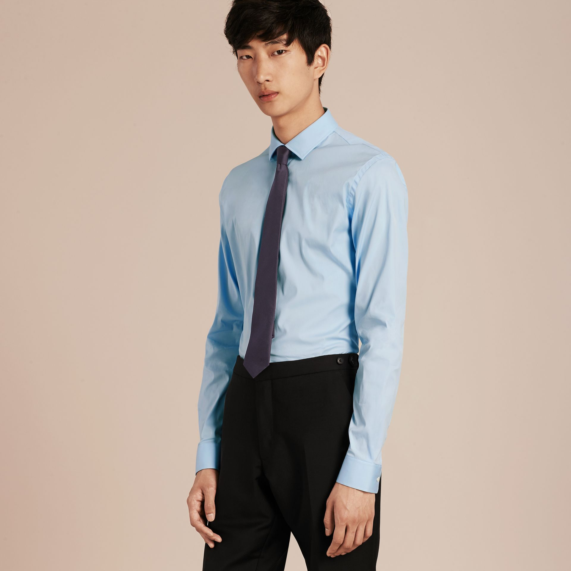 Slim Fit Stretch Cotton Poplin Shirt in City Blue - gallery image 5