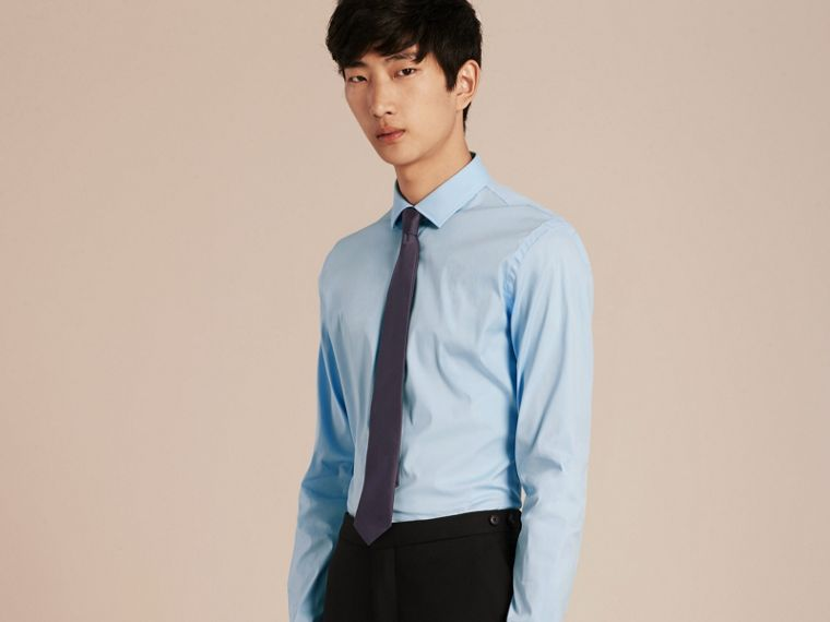 Slim Fit Stretch Cotton Poplin Shirt in City Blue - cell image 4
