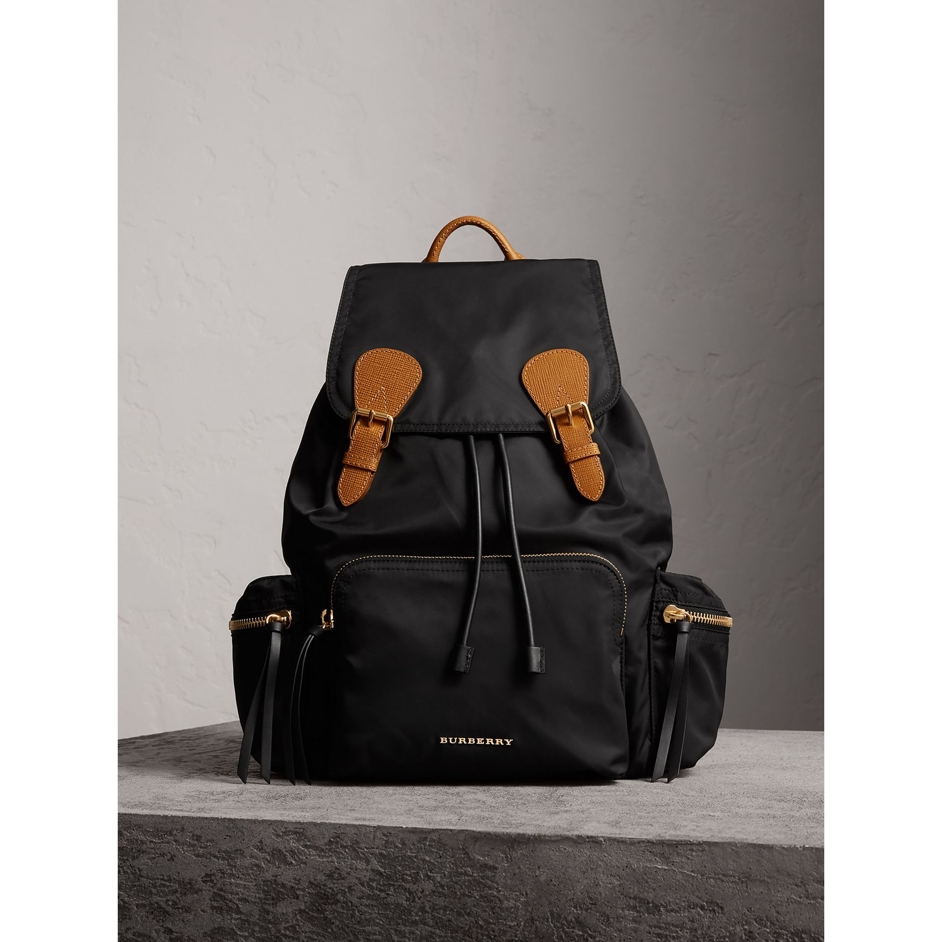 The Large Rucksack in Technical Nylon and Leather in Black - Women | Burberry Australia - gallery image 8