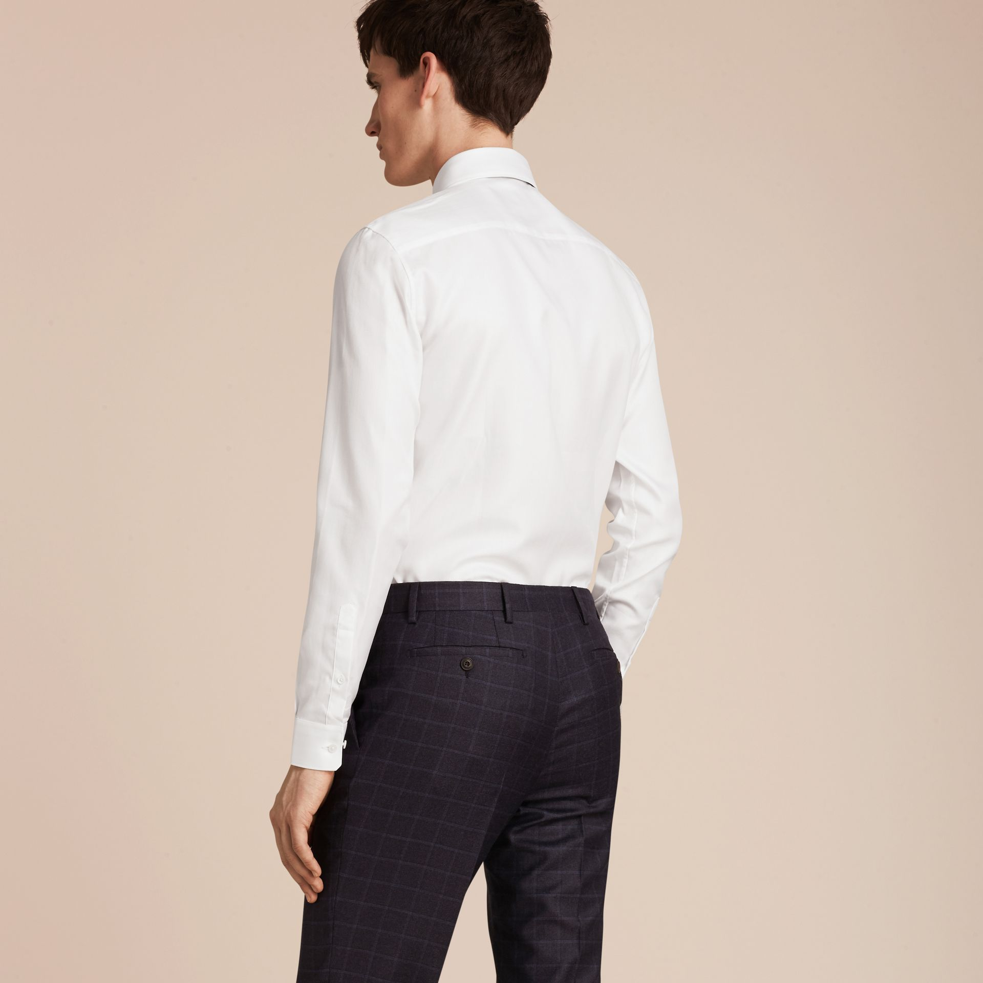 White Slim Fit Herringbone Cotton Shirt - gallery image 3