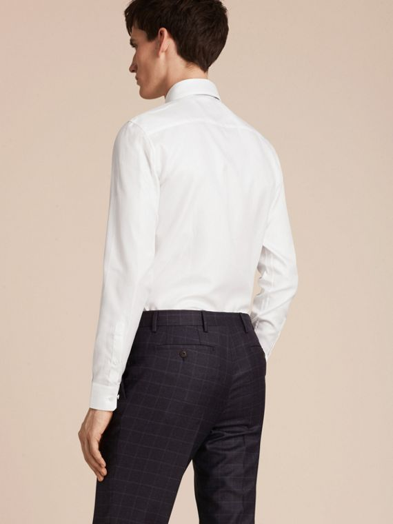 White Slim Fit Herringbone Cotton Shirt - cell image 2