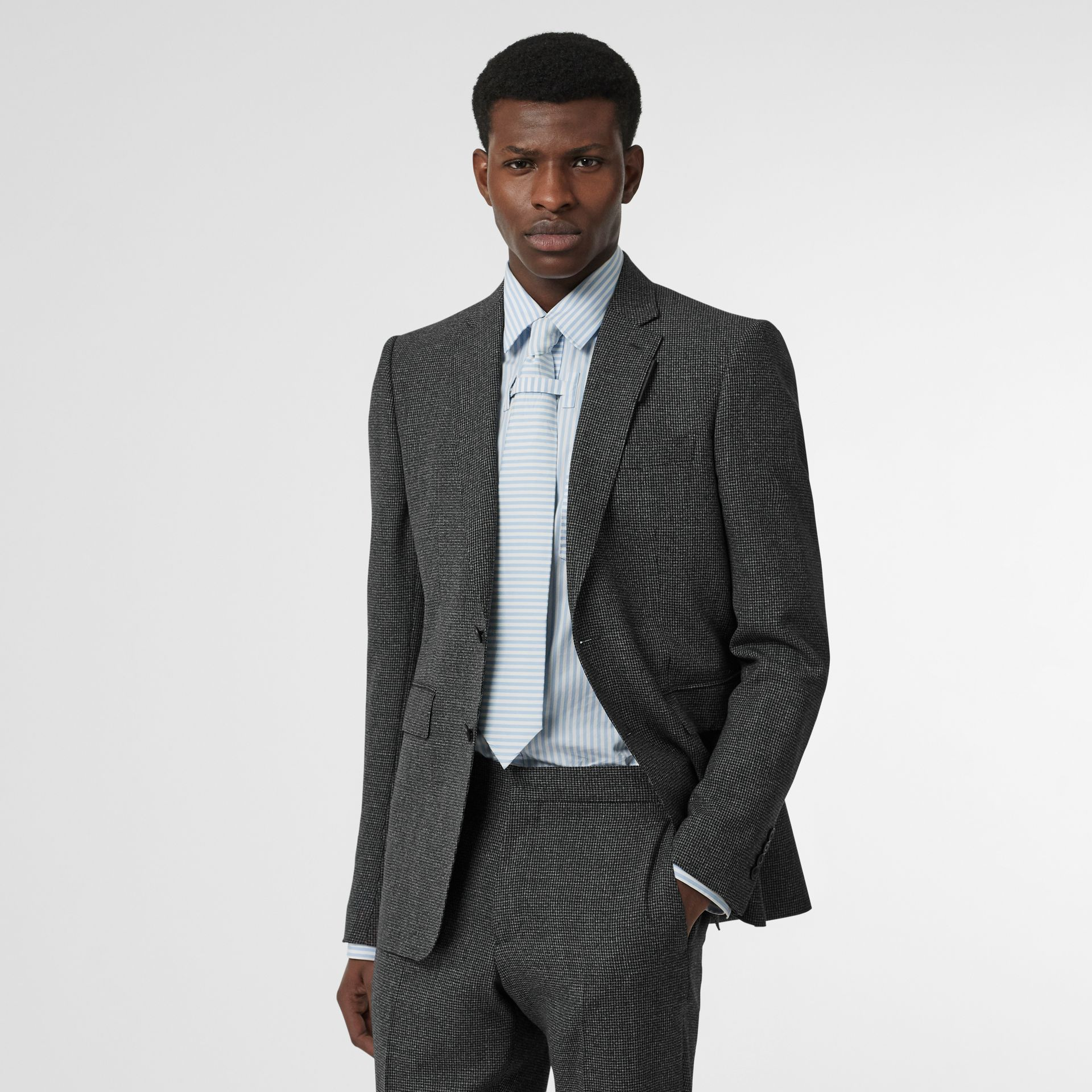 English Fit Puppytooth Check Wool Suit in Charcoal Melange - Men | Burberry - gallery image 6