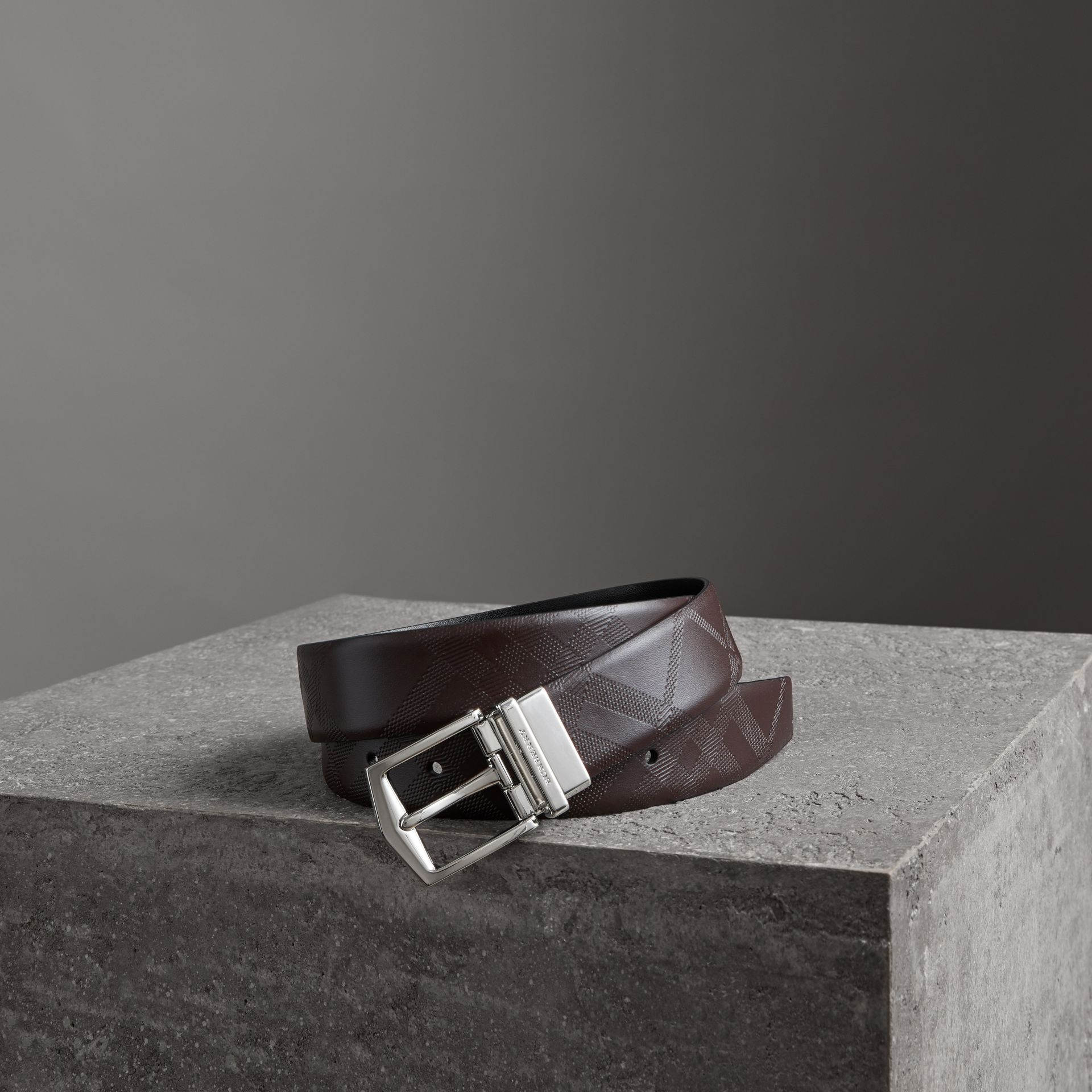 Reversible London Leather Belt in Dark Clove Brown/black - Men | Burberry Australia - gallery image 0