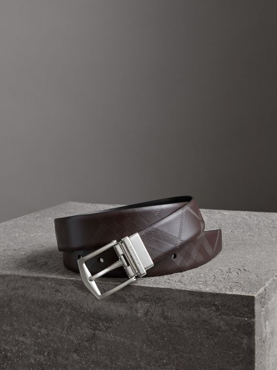 Reversible London Leather Belt in Dark Clove Brown/black