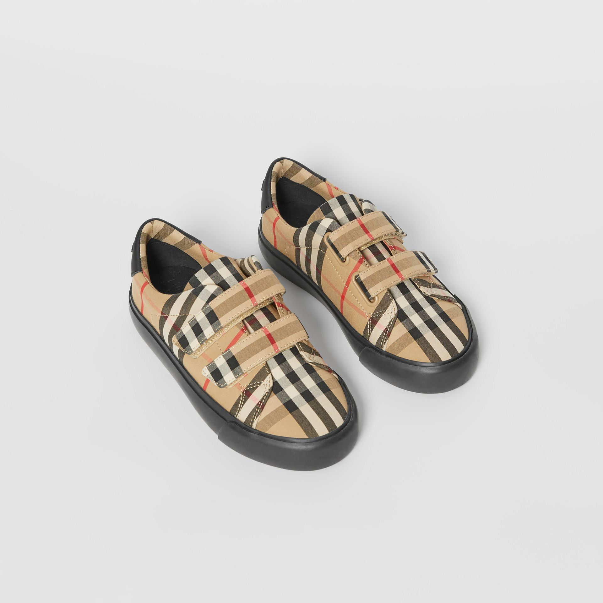 Vintage Check Cotton Sneakers in Archive Beige/black - Children | Burberry Singapore - gallery image 0