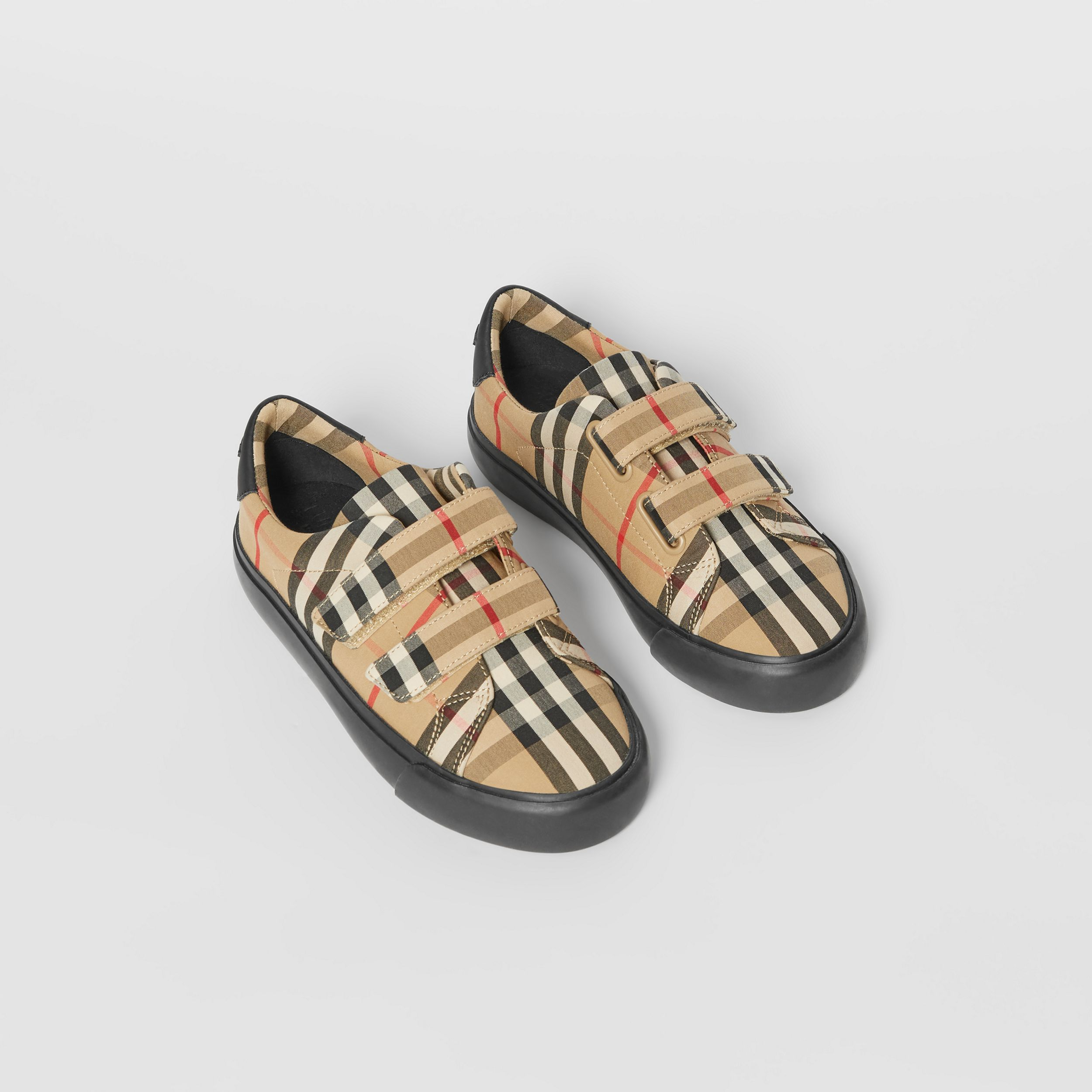 Vintage Check Cotton Sneakers in Archive Beige/black - Children | Burberry Singapore - 1