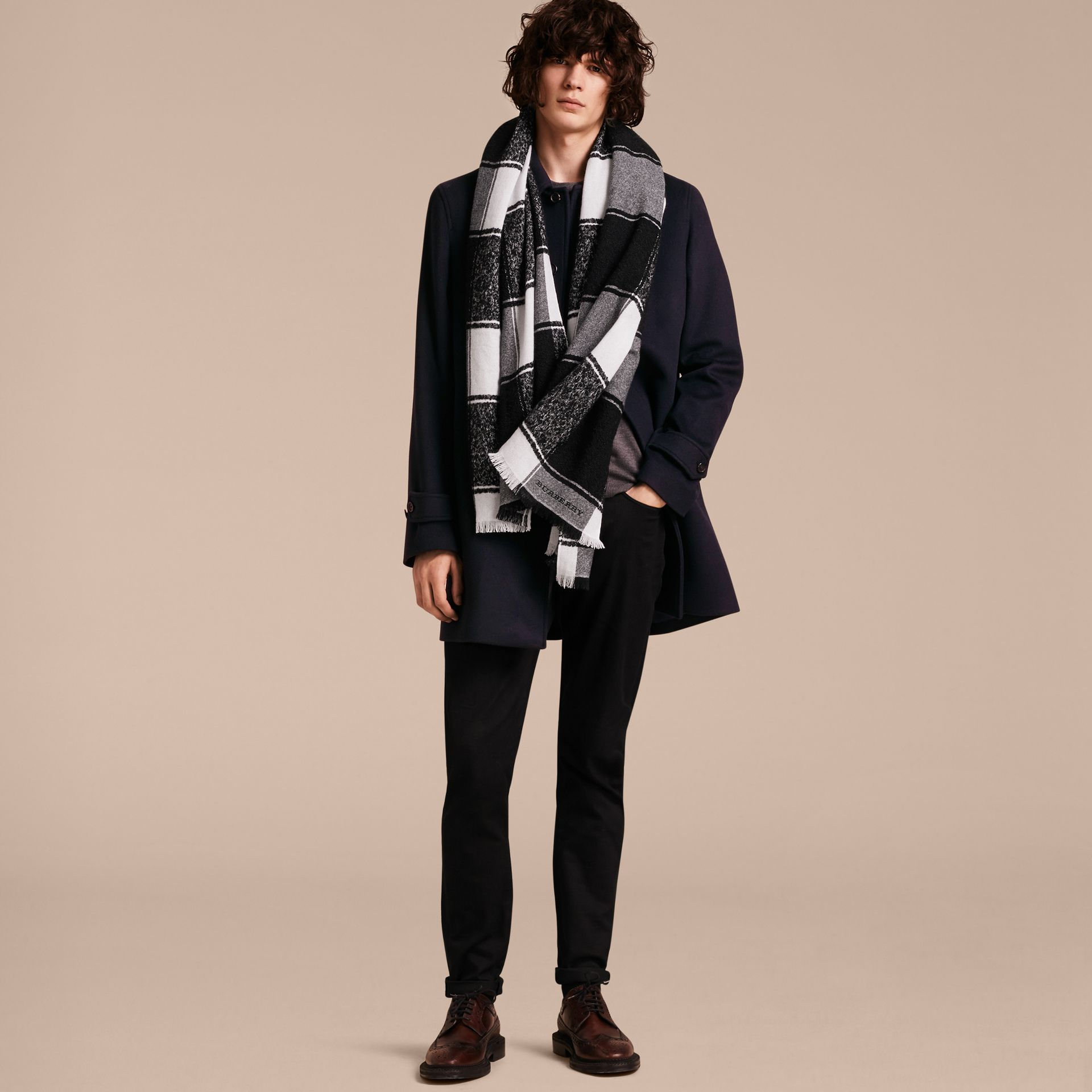 Black Oversize Check Cashmere Silk Scarf - gallery image 4