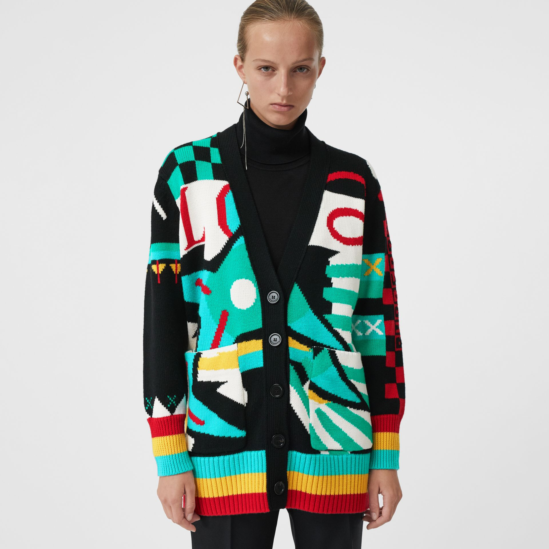 Graphic Intarsia Merino Wool Cotton Cardigan in Multicolour - Women | Burberry Singapore - gallery image 4