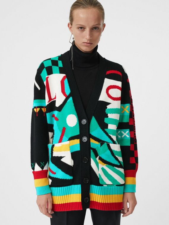 Graphic Intarsia Merino Wool Cotton Cardigan in Multicolour