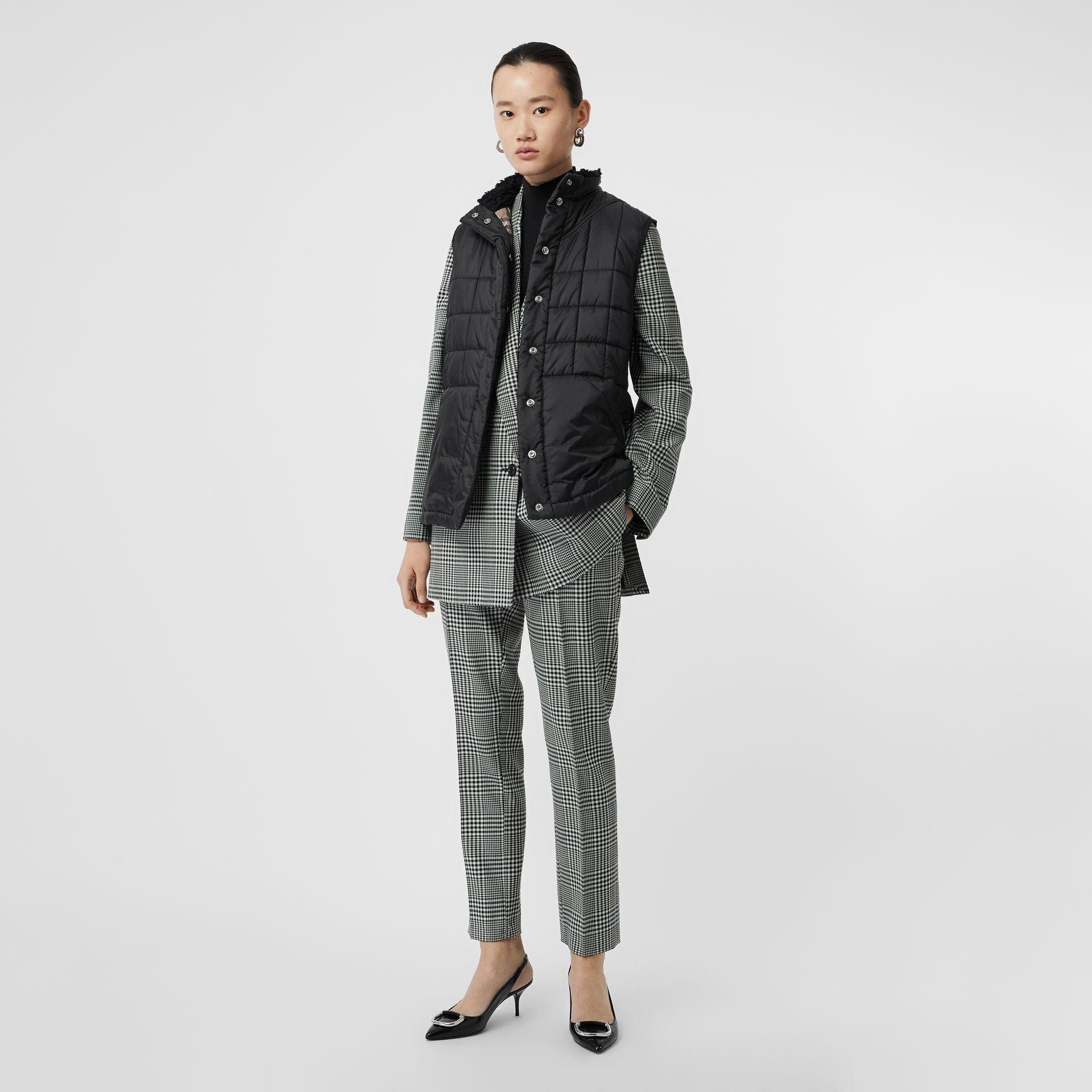 Faux Shearling Collar Lightweight Quilted Gilet in Black - Women | Burberry - gallery image 0