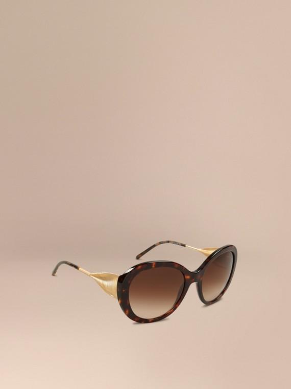 Extragroße Sonnenbrille mit rundem Gestell Ebenholzfarben