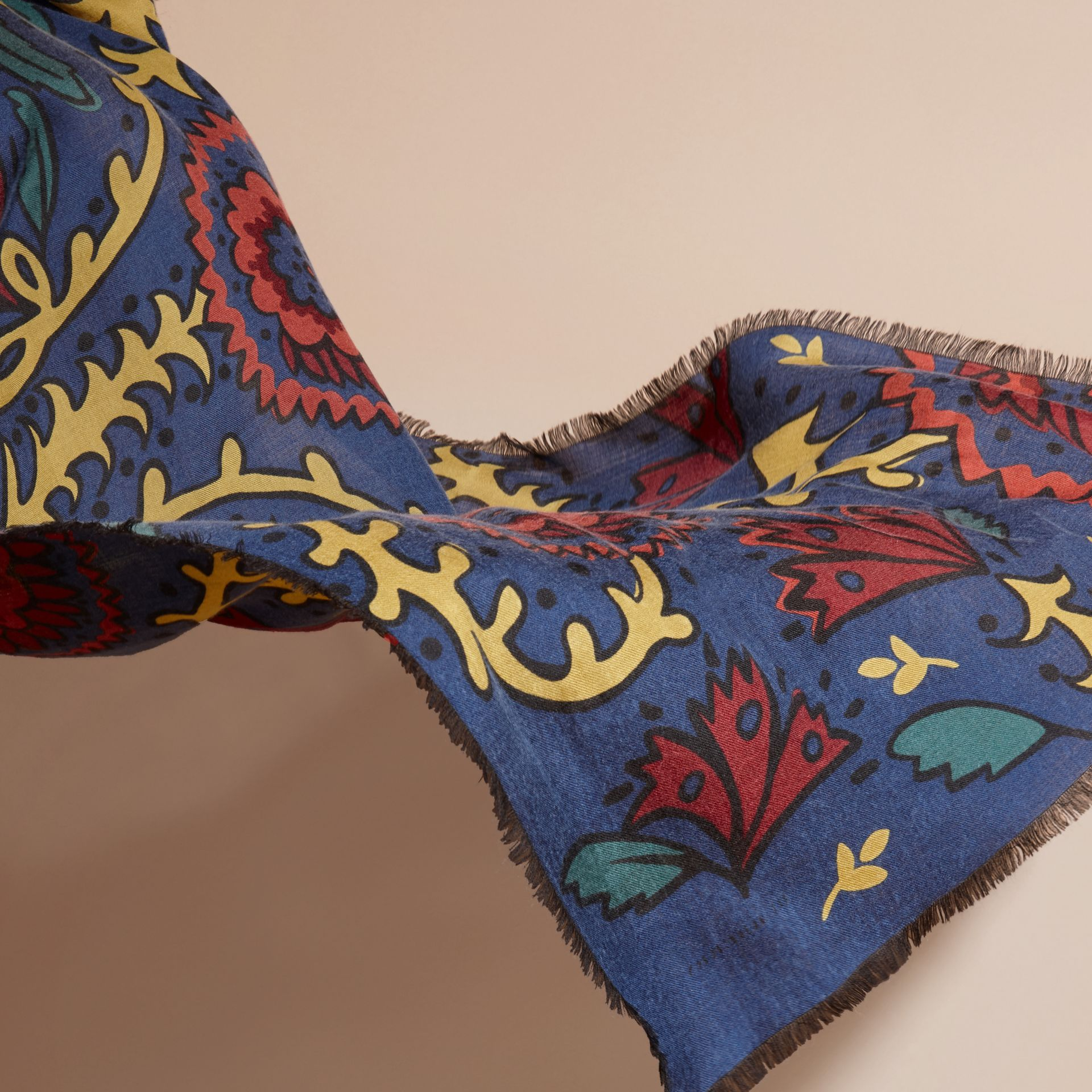 Navy Floral Print Cashmere Scarf - gallery image 4