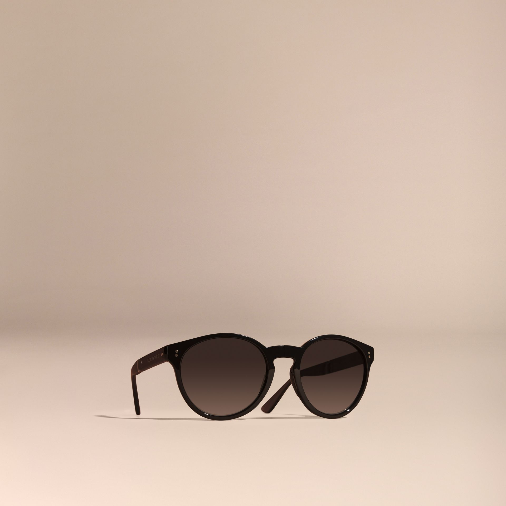 Black Folding Round Frame Sunglasses Black - gallery image 1