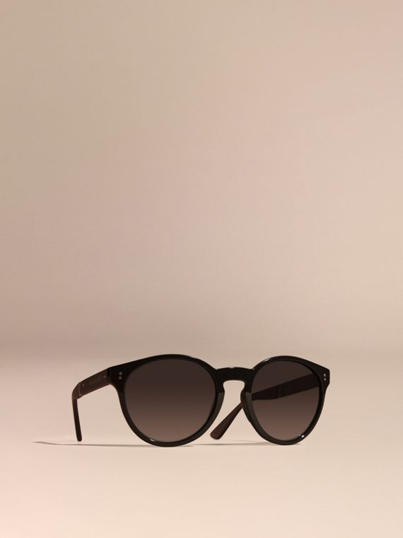 Folding Round Frame Sunglasses Black