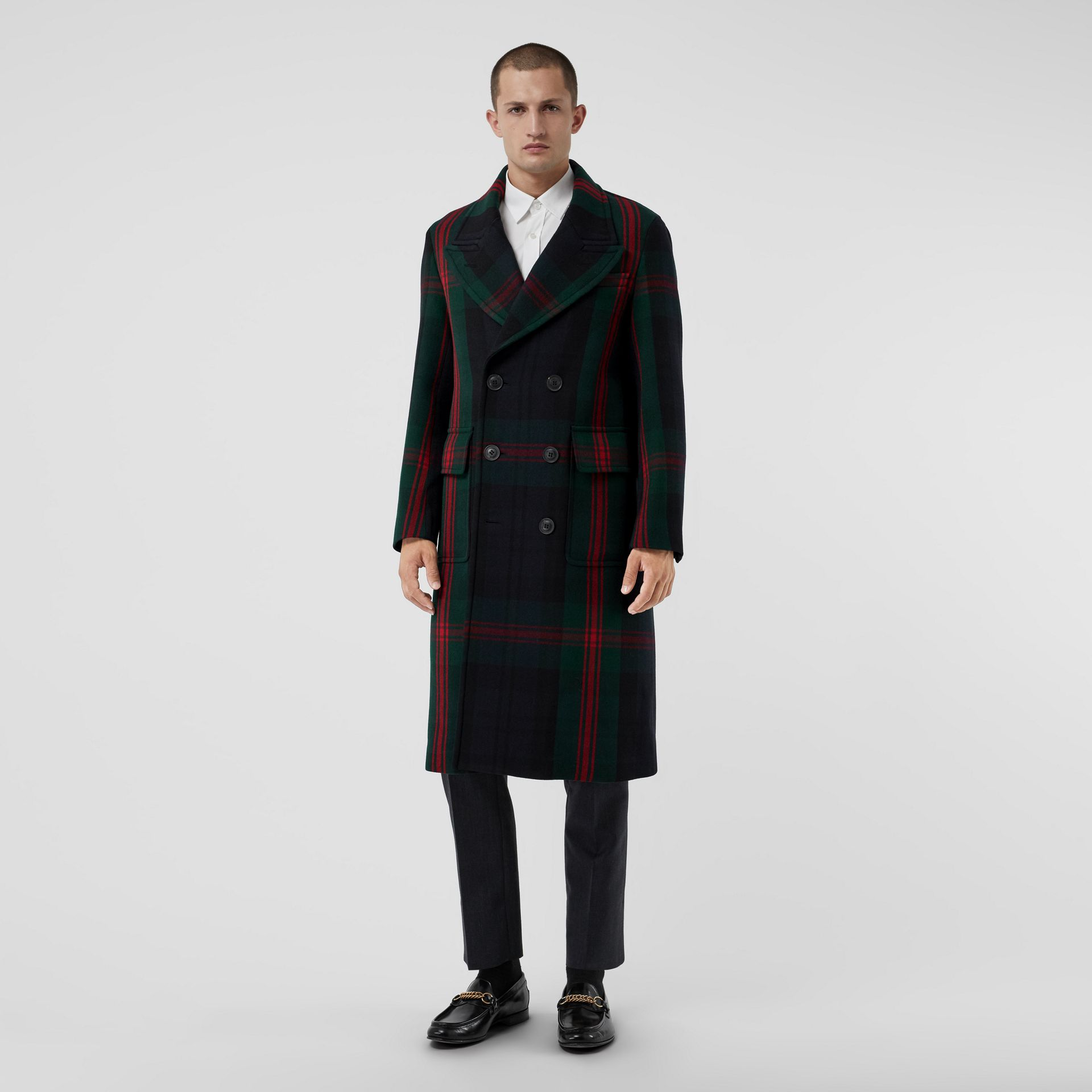 Tartan Wool Mohair Blend Tailored Coat in Navy Check - Men | Burberry - gallery image 0