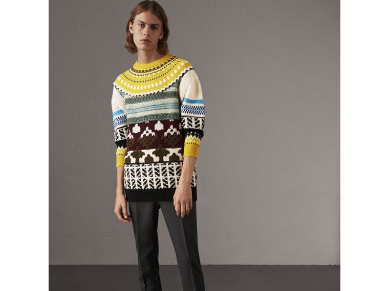 Fair Isle Multi-knit Cashmere Wool Sweater in Pine Green - Men | Burberry - cell image 4