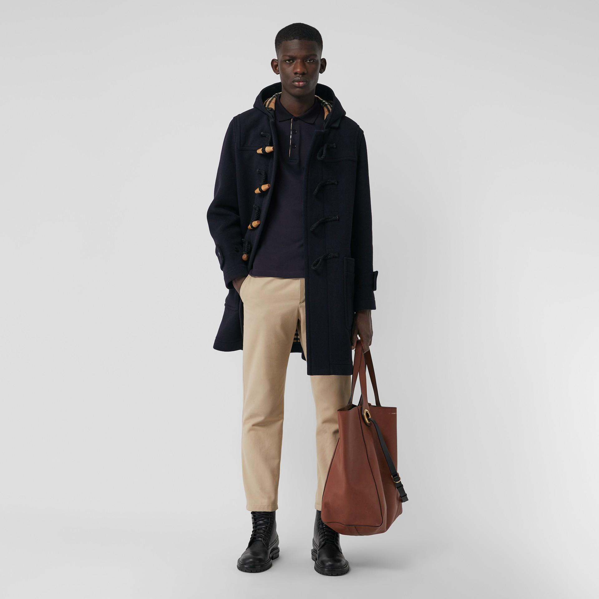 Camisa polo de algodão piquê com mangas longas (Azul Marinho) - Homens | Burberry - galeria de imagens 0