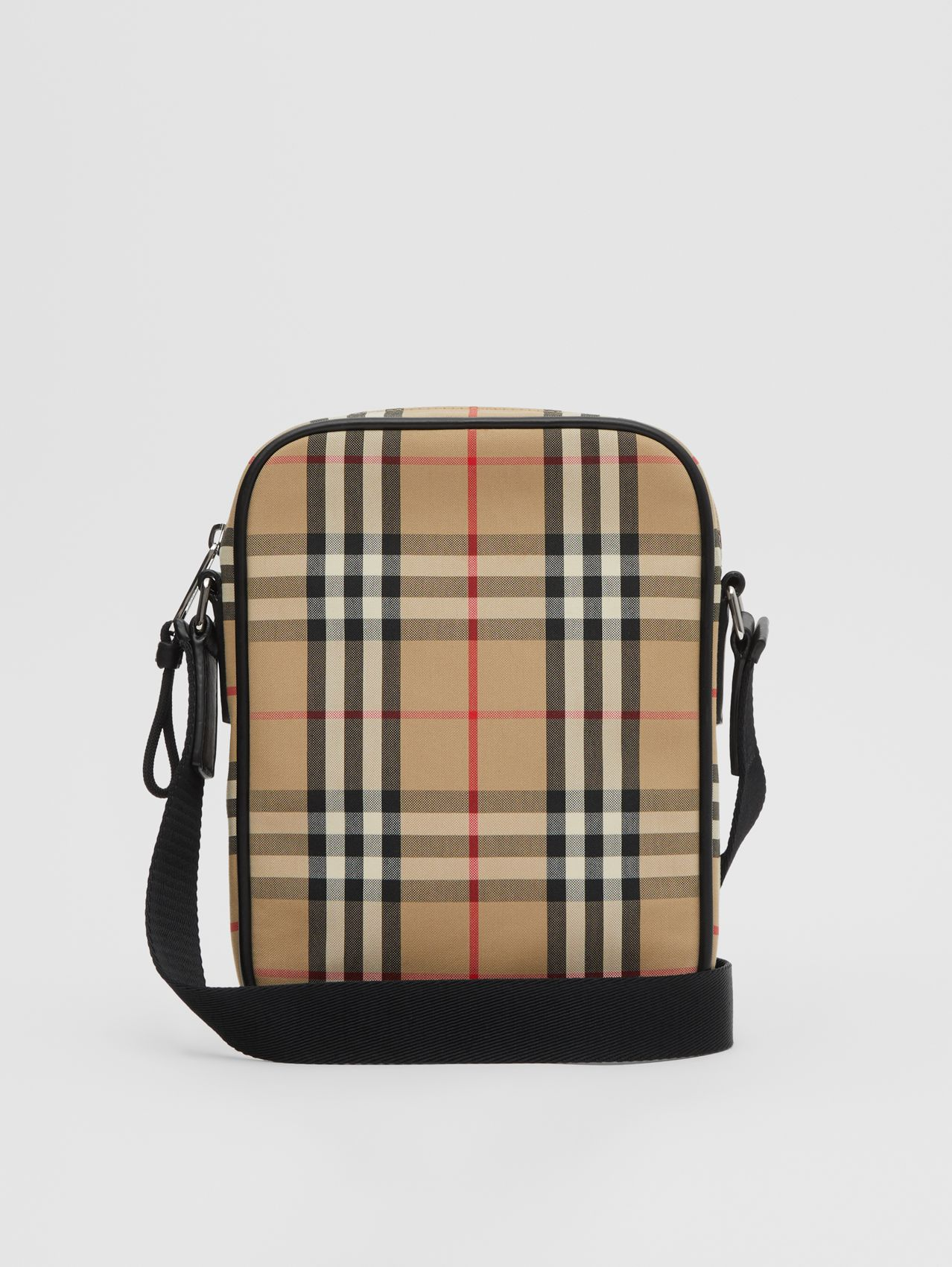 Vintage Check and Leather Crossbody Bag (Archive Beige)