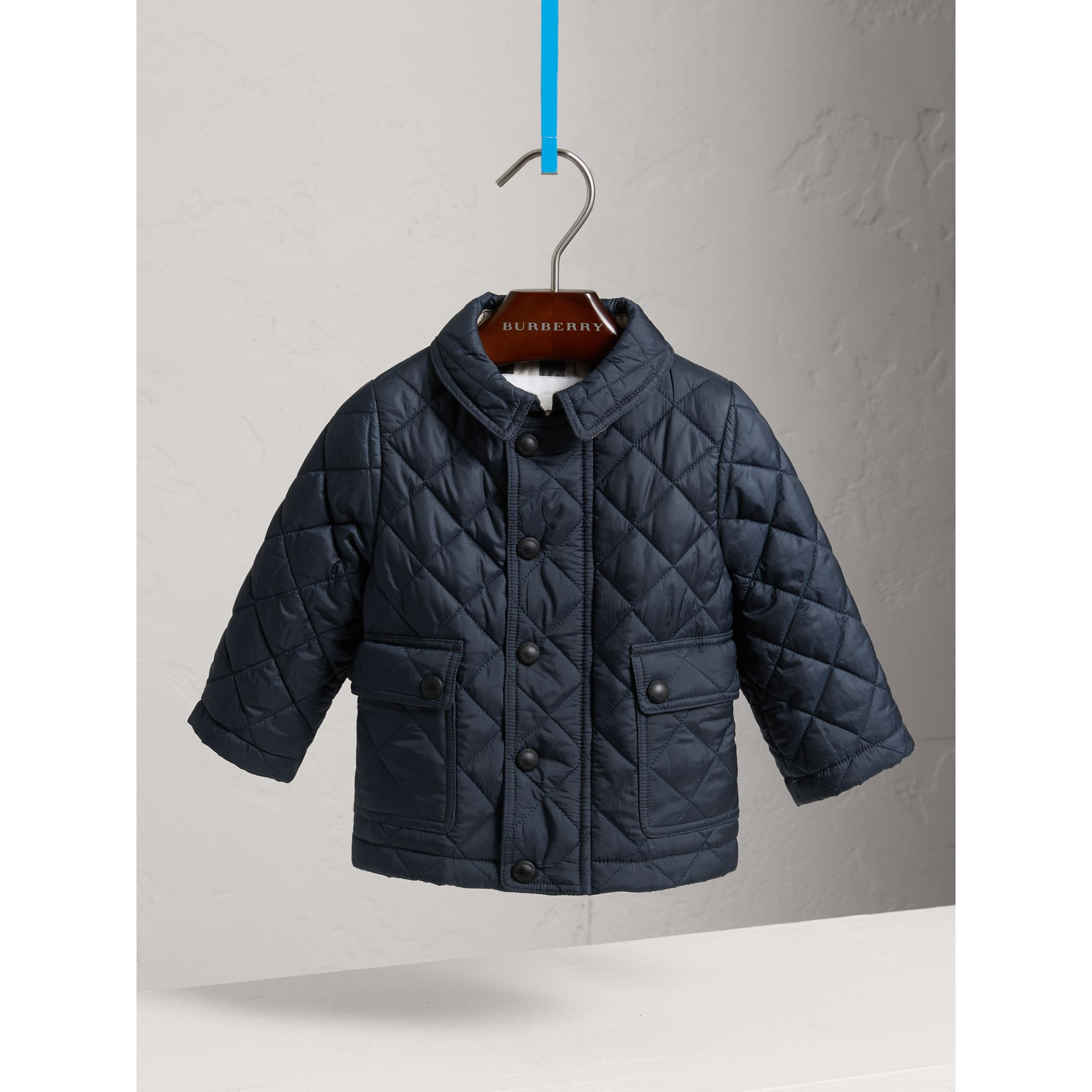 Check Detail Diamond-quilted Jacket in Ink Blue | Burberry - gallery image 0