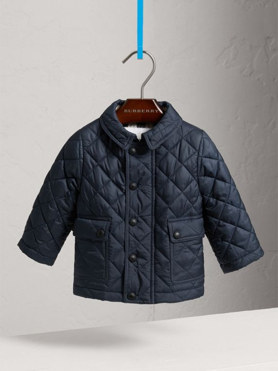 Check Detail Diamond-quilted Jacket in Ink Blue