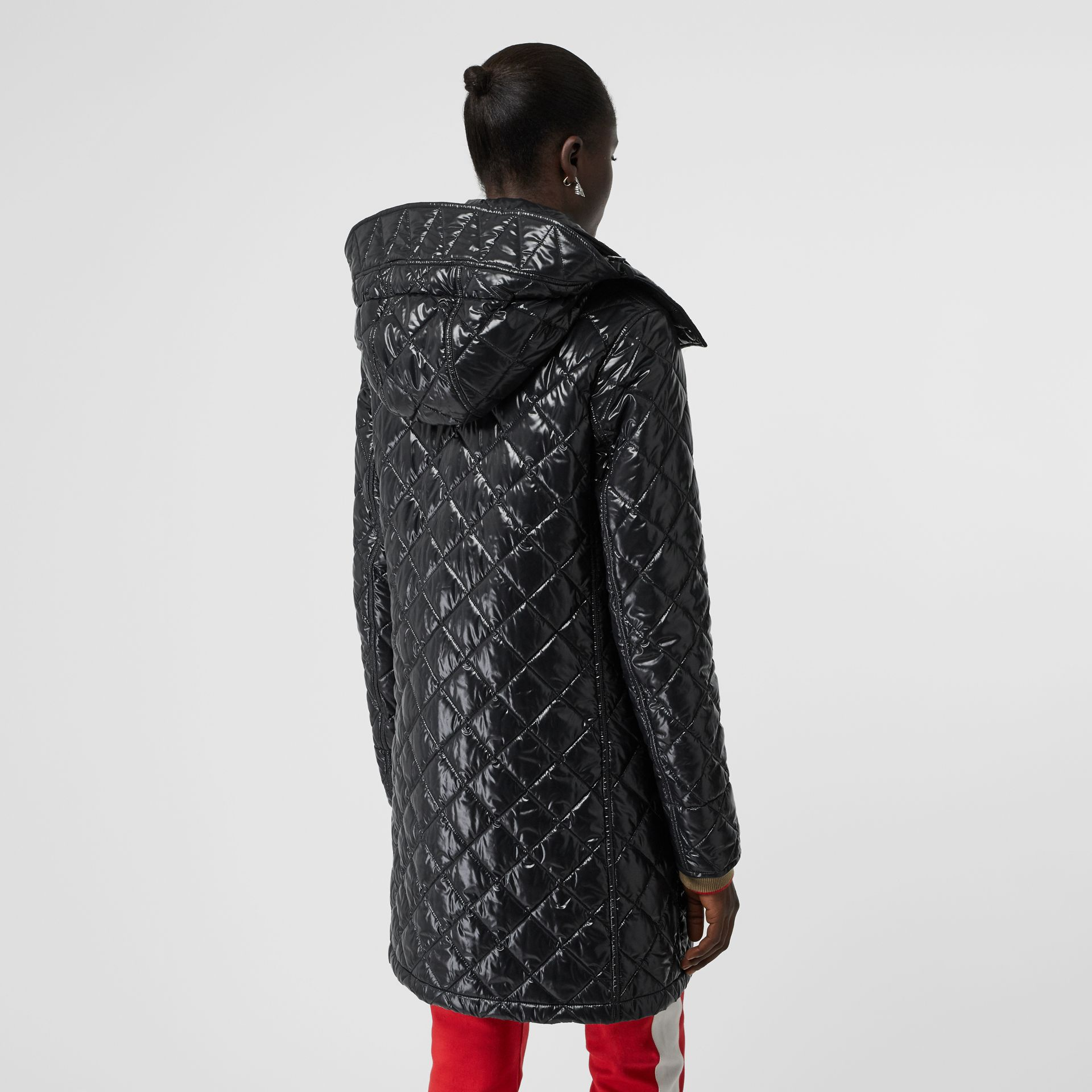 Detachable Hood Monogram Motif Quilted Coat in Black - Women | Burberry United States - gallery image 2