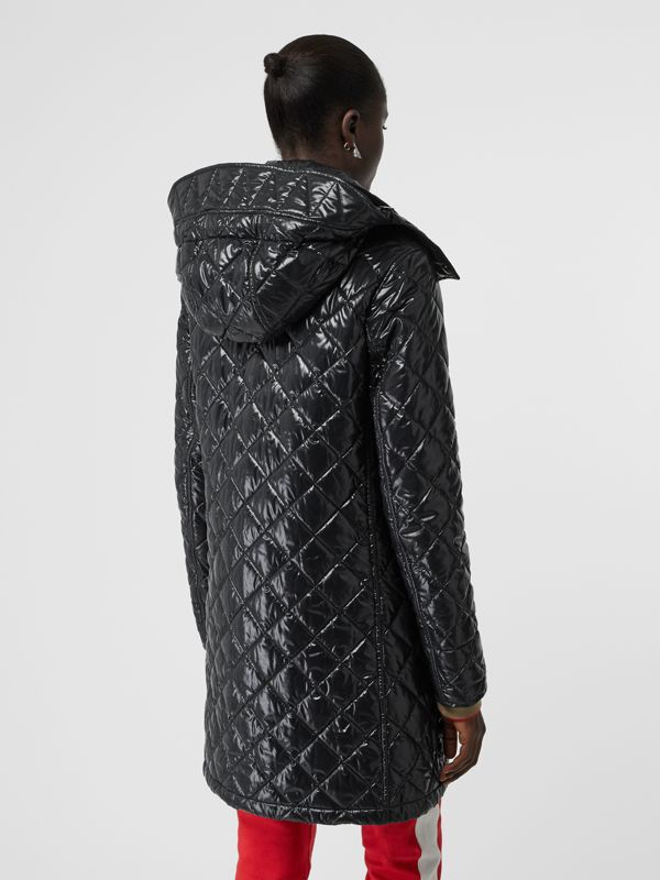 Detachable Hood Monogram Motif Quilted Coat in Black - Women | Burberry United States - cell image 2