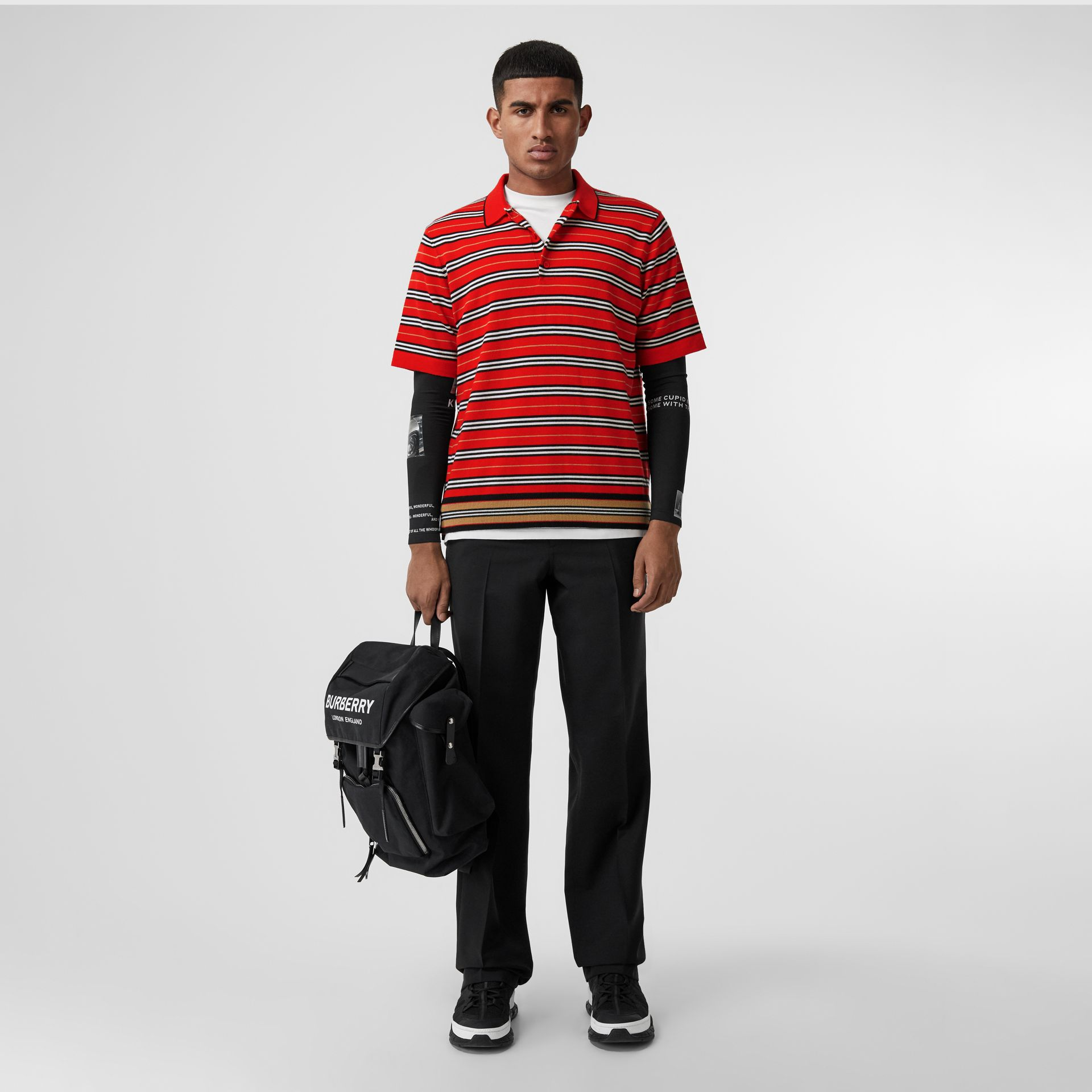 Contrast Stripe Merino Wool Polo Shirt in Bright Red - Men | Burberry - gallery image 0