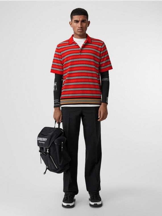 Contrast Stripe Merino Wool Polo Shirt in Bright Red